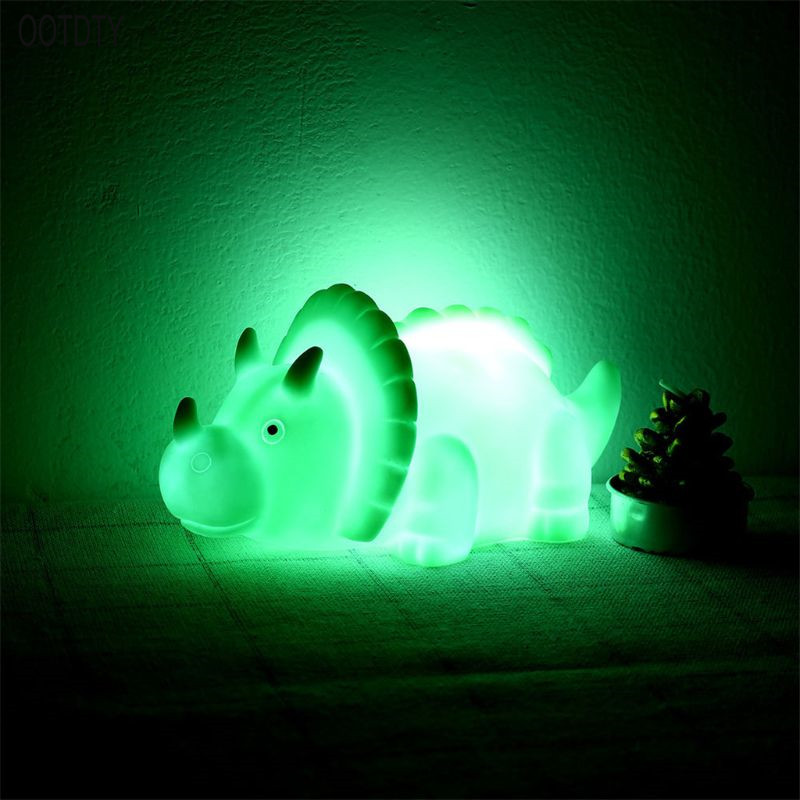 OOTDTY Cartoon LED Mini Dinosaur Lamp  Small Night Lights Home Decorion Glow In The Dark Kid Toys