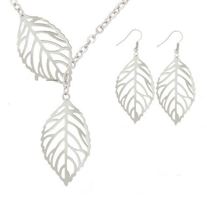 جديد مجوهرات الأزياء شخصية بسيطة مزاجه البرية 2 ليف قلادة مجوهرات نسائية قلادة بالجملة قلادة طقم من الحلقان