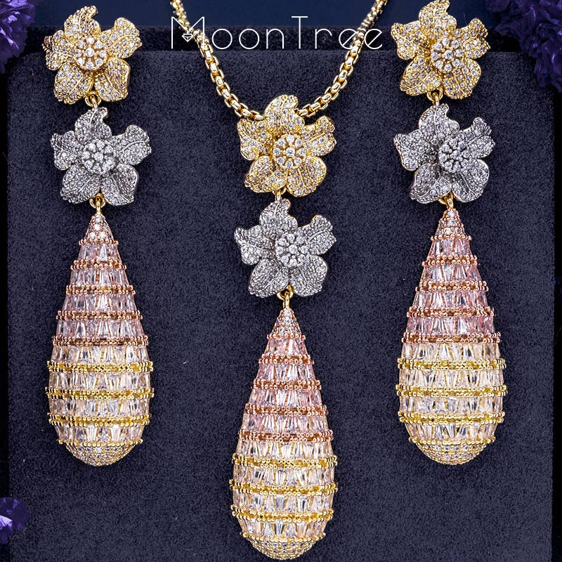 MoonTree Luxury Trendy Flower Full Mirco Paved Cubic Zirconia Naija Wedding Drop Earring And Necklace Fashion