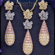 MoonTree Luxury Trendy Flower Mirco Pave Cubic Zirconia Naija งานแต่งงาน Drop ต่างหูและสร้อยคอแฟชั่นชุด