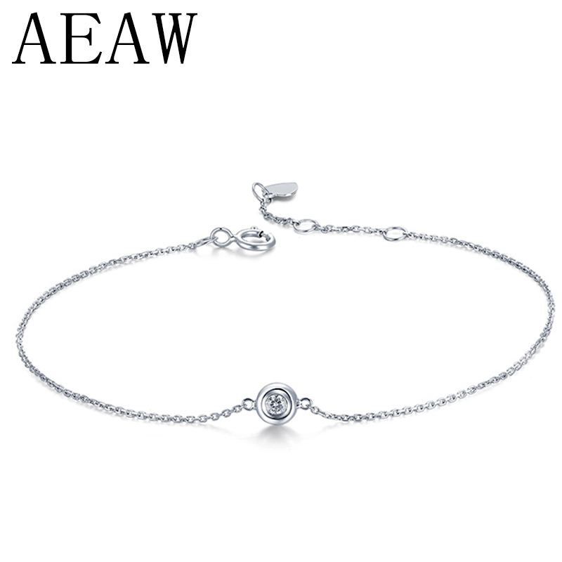 AEAW Solid 14K White Gold 0.1ct F Color Lab Grown Moissanite Diamond Bracelet Test Positive For Women Trendy Style Fine Jewelry 18k 750 white gold pendant gh color round lab grown moissanite double heart necklace diamond pendant necklace for women jewelry