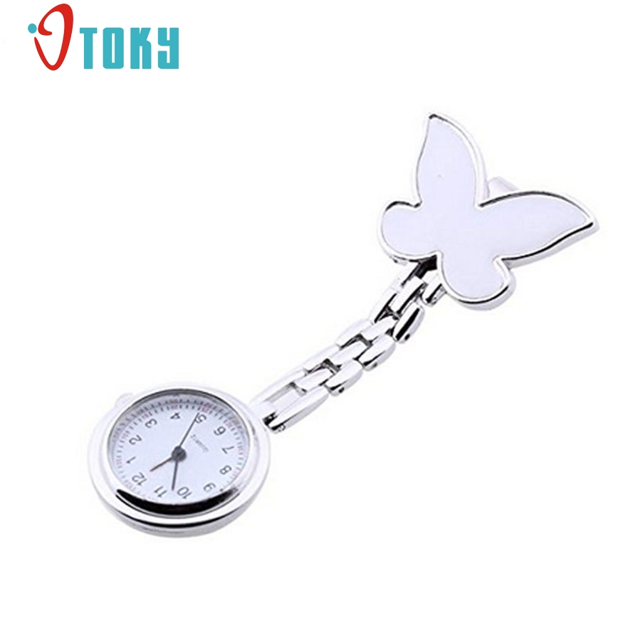 OTOKY Quartz Watches women Fashion Butterfly Nurse Clip-on Fob Brooch Pendant Hanging Pocket Watch #20 Gift 1 pcs otoky montre pocket watch women vintage retro quartz watch men fashion chain necklace pendant fob watches reloj 20 gift 1pc