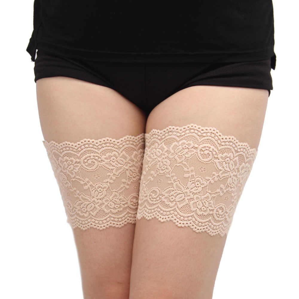 セクシーなレースの女性の大腿バンド抗摩擦二列のなしスリップシリコーンレッグウォーマーサイズ s 4XL