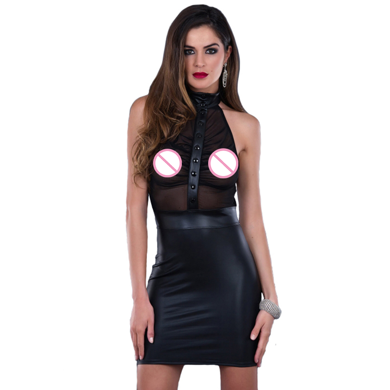 <font><b>Sexy</b></font> Leather <font><b>Transparent</b></font> Mesh See Through Sleeveless Bandage <font><b>Night</b></font> <font><b>Club</b></font> Pole Dance Costume Black Faux Vinyl <font><b>Dress</b></font> Vestidos image