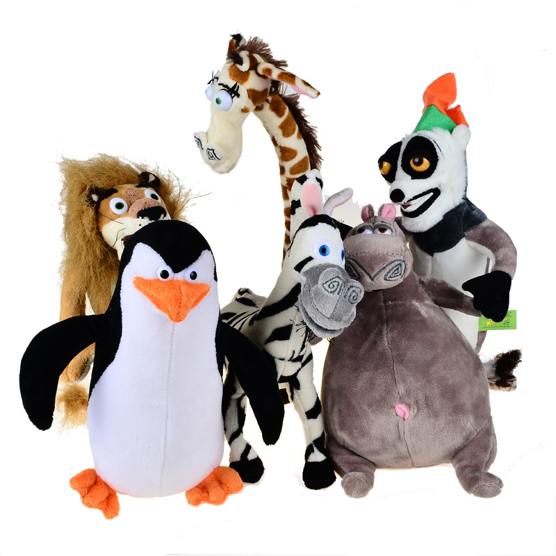 BOHS Madagascar Plush Penguin Animals Toys,Lion Alex Zebra Marty Giraffe Melman Hippopotamus Gloria Pelucia Brinquedo Juguete the hippopotamus