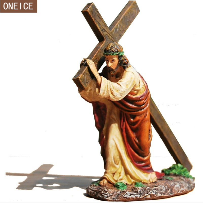 Creative Jesus Statue, Painted Resin Christ Jesus Cross Church Decoration, Home Decor Crafts 12cm Catholic Christian