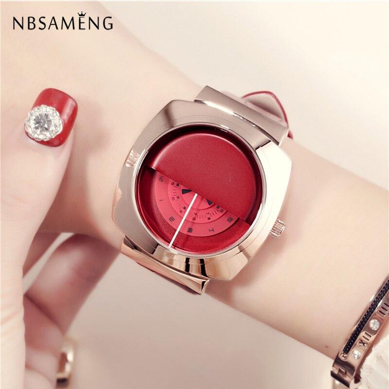 New Women Watch Luxury Brand Fashion Cover Design Clock Minimalism Quartz Dress Wristwatch Simple Leather Gift Watches LZ4250