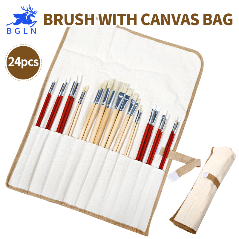 все цены на Bgln 24pcs Mix Size Oil Acrylic Brushes With Canvas Bag Long Handle Multifunction Art Brush For Drawing Stationery Art Supplies