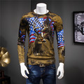 EE.UU. y la Bandera de Impresión de Los Ciervos de Navidad de Punto 95% Hombres Suéter Del O-cuello Suéteres de Lana 2016 Otoño Invierno Homme Tirón Marca Ropa