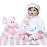 NPK 55cm Realistic Reborn Baby Doll Soft Silicone Stuffed Lifelike Baby Doll Toy Ethnic Doll For Kids Birthday Christmas Gifts