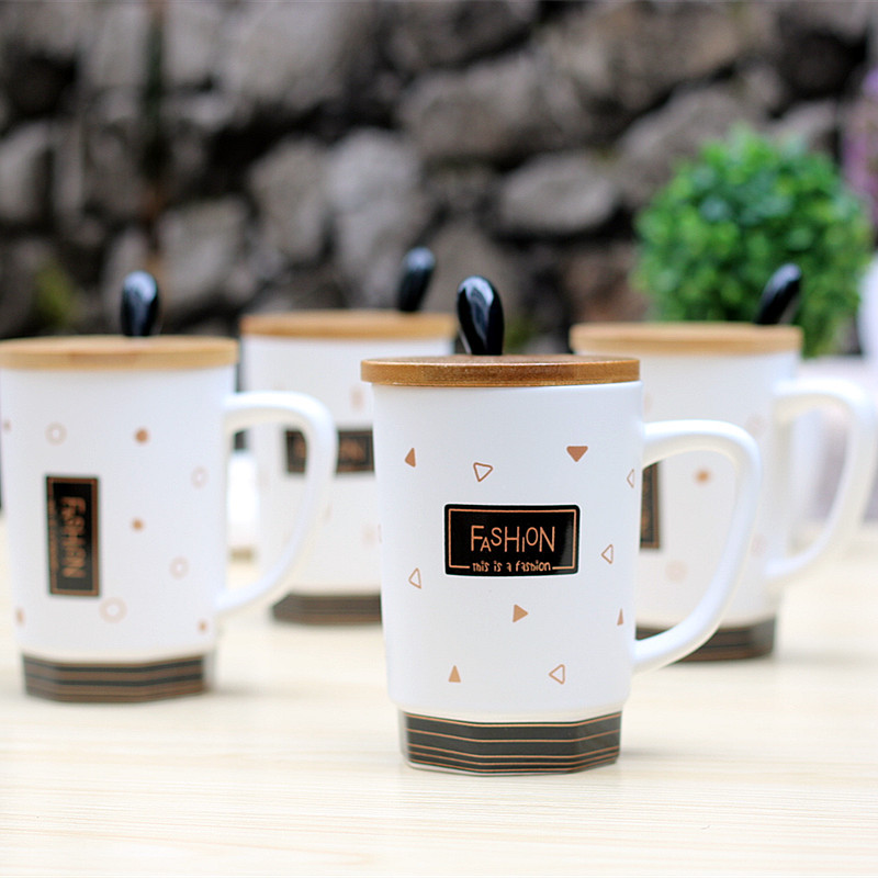 18ed9a617af Creative new wooden cover ceramic cup life style fashion cup black and white  milk coffee mug student gifts home outdoor -in Mugs from Home & Garden on  ...