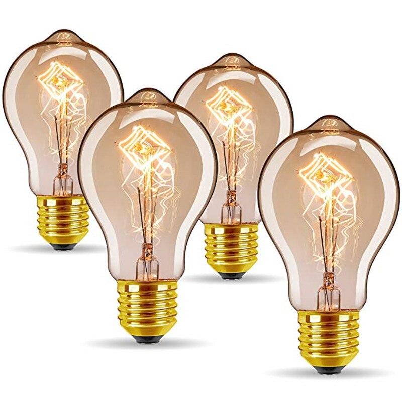4 pcs lote edison lampada dimmable a19 40 w e27 a60 60 w wam branco retro