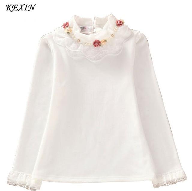 China salling 2015 Fashion Children kids girls blouses Baby girls long sleeved school lace white shirts tops&tees TD014