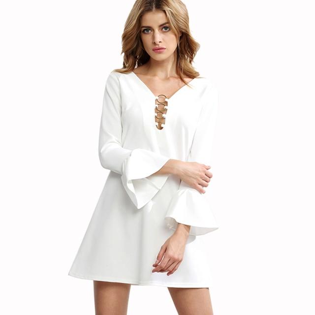 1f23fb2d654927a Женщины Одеваются Моды Белые Платья Плюс Размер Женская Одежда Осень Платье  Sexy Vintage Офисные Платья