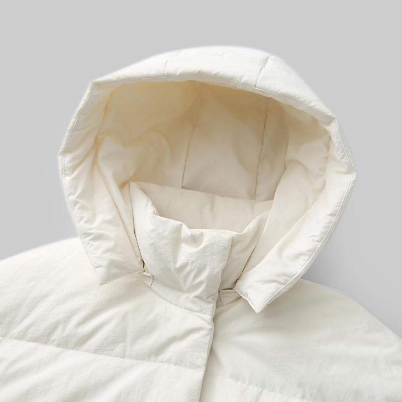 Amii Women 2018 Winter 90% White Duck Down Coat Covered Button Hoodies Female Fashion Light Jacket Coats