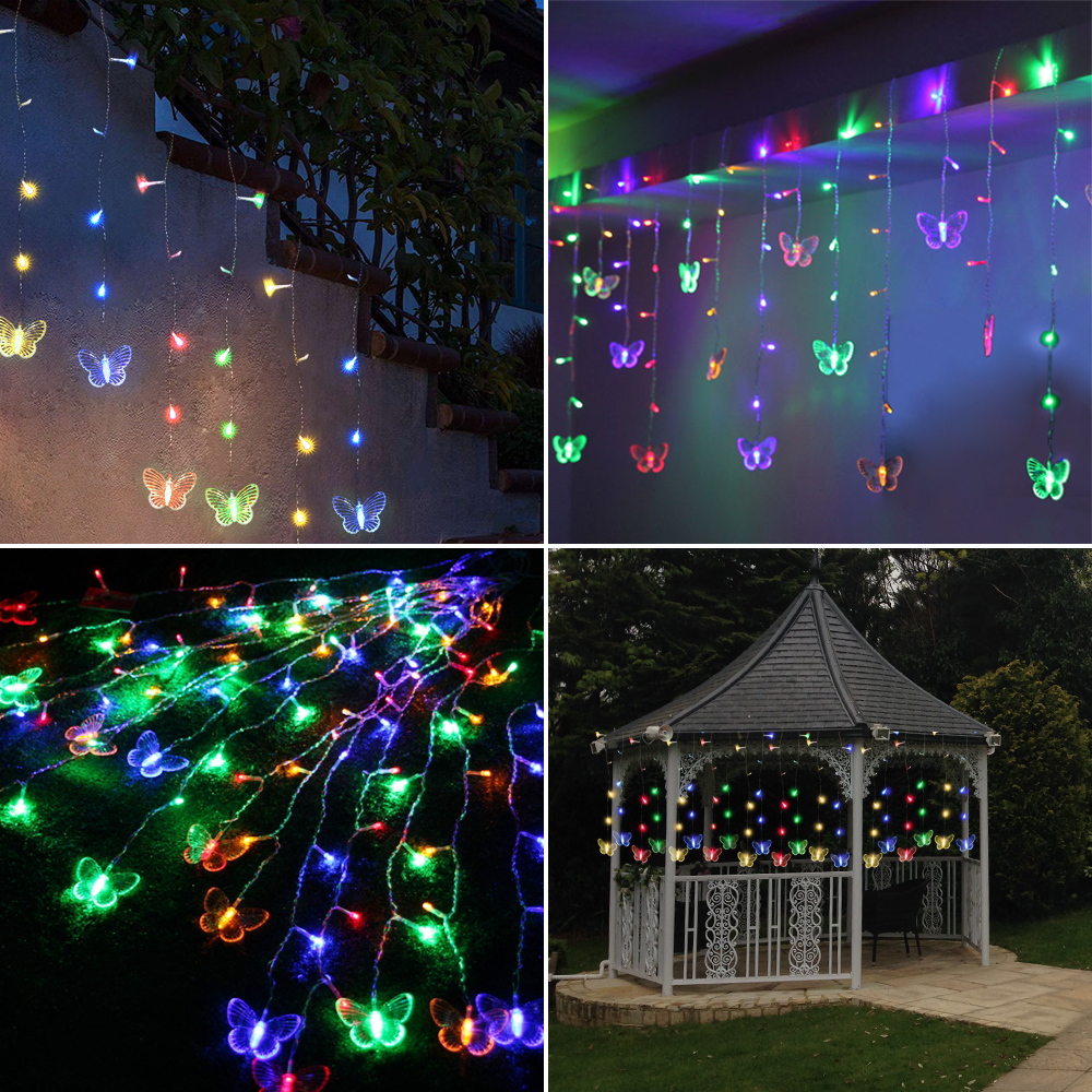 48 LEDs 315CM*50CM Curtain Lights Butterfly Led String AC110-220V Powered Waterproof Holiday Lights Christmas Garland Wedding