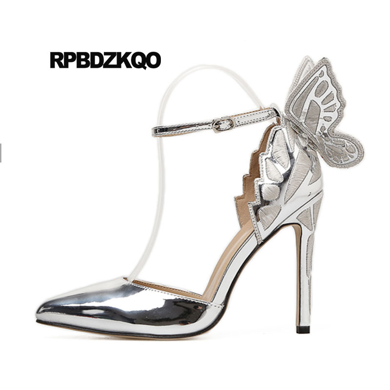 Thin New Ladies Gold Shoes Ankle Strap Sandals Pointed Patent Leather Pumps Runway Metallic Wing Silver Ultra Angel High Heels hottest golden metallic leather wing sandals silver gold red gladiator high heels shoes women metallic winged sandals