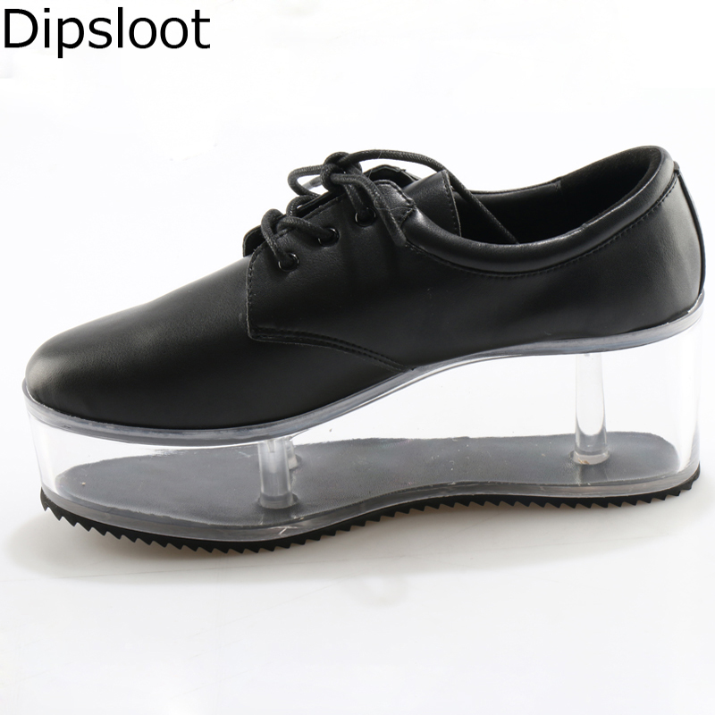 Semelle Dames Printemps forme Femmes Fille black Up Street Élégant White Lucency Récipient Casual Lace Plate Transparent Fretwork Chaussures Épais De Ygfwvq5z7f