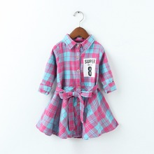 Fashion Casual Plaid Cotton Baby Girl's Dress