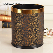 luxury double layer opentop round leather waste basket stainless steel metal trash can garbage case container