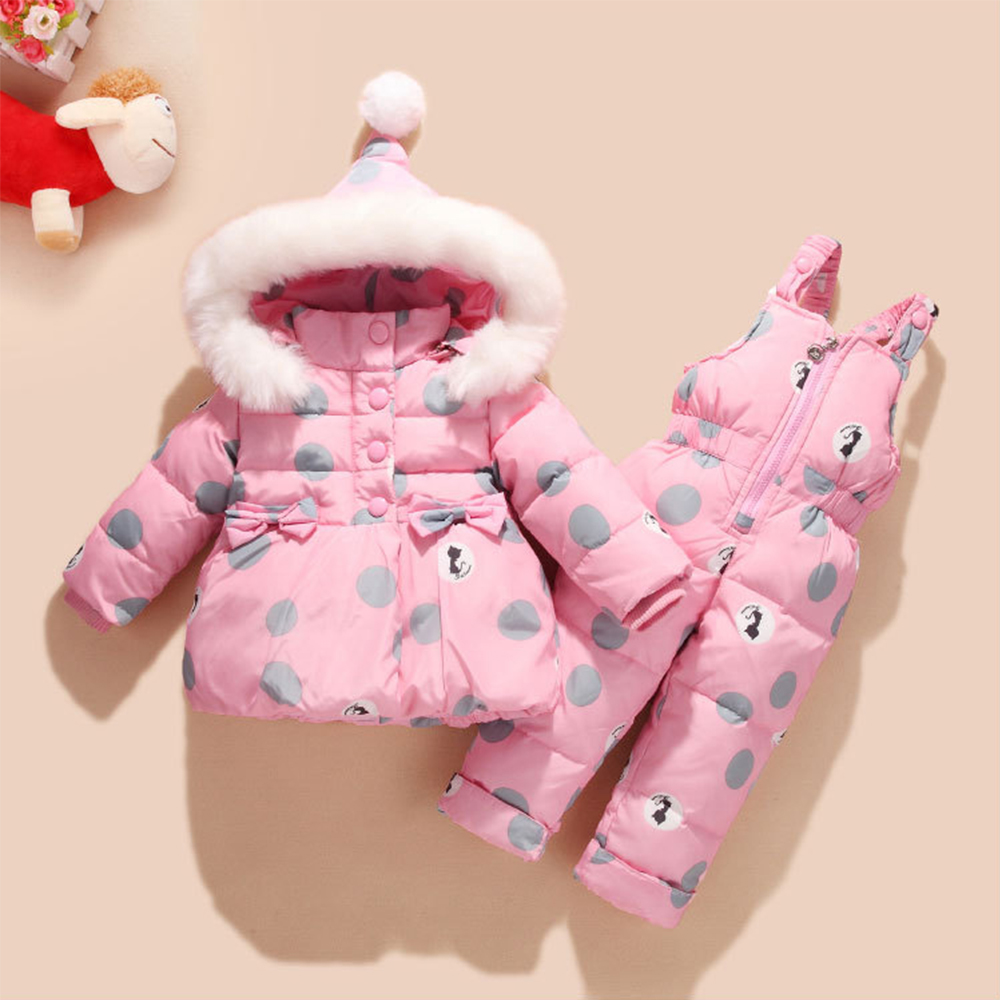 Baby Winter Overalls Snowsuit Coveralls for Girls Duck Down Winter Baby Suit Bowknot Polka Dot Hoodies Jacket and Jumpsuit Set цена
