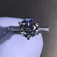 Anillo clásico de oro blanco de 14 K, anillo de diamante de moissanita de 2ct y 3 CT, anillo de joyería de aniversario de compromiso de fiesta con certificado GRA