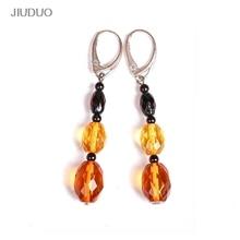 JIUDUO Pure natural amber bivax örhängen örhängen örhängen mode ganska 100% 925 sterling silver fabriksförsäljning special DE01