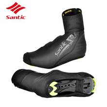 Santic Cycling Shoes Covers Waterproof Winter Thermal Fleece Bike Full Overshoes Road Bicycle Shoes Cover Men