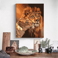 Handpainted Wall Art Frameless Oil Painting On Canvas Lions Animal Drawing Picture DIY Home Decor For