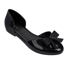 high quality melissa shoes for women with bow decoration flat sandals 2019 jelly shoes women bow decorated flat sandals with crystal