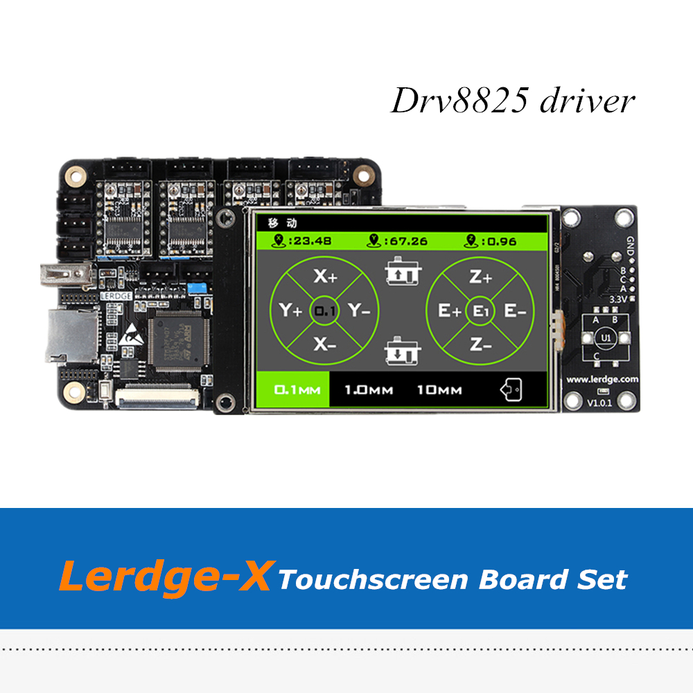 4pcs DRV8825 Drivers 32bit Touch Screen Lerdge X Mainboard Set For Delta Ultimaker XYZ 3D Printers