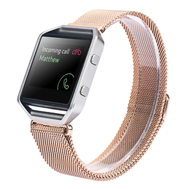 Excellent Quality Magnet Lock Milanese Loop Stainless Steel Leather Loop Bracelet Strap Band 18-20cm For Fitbit Blaze