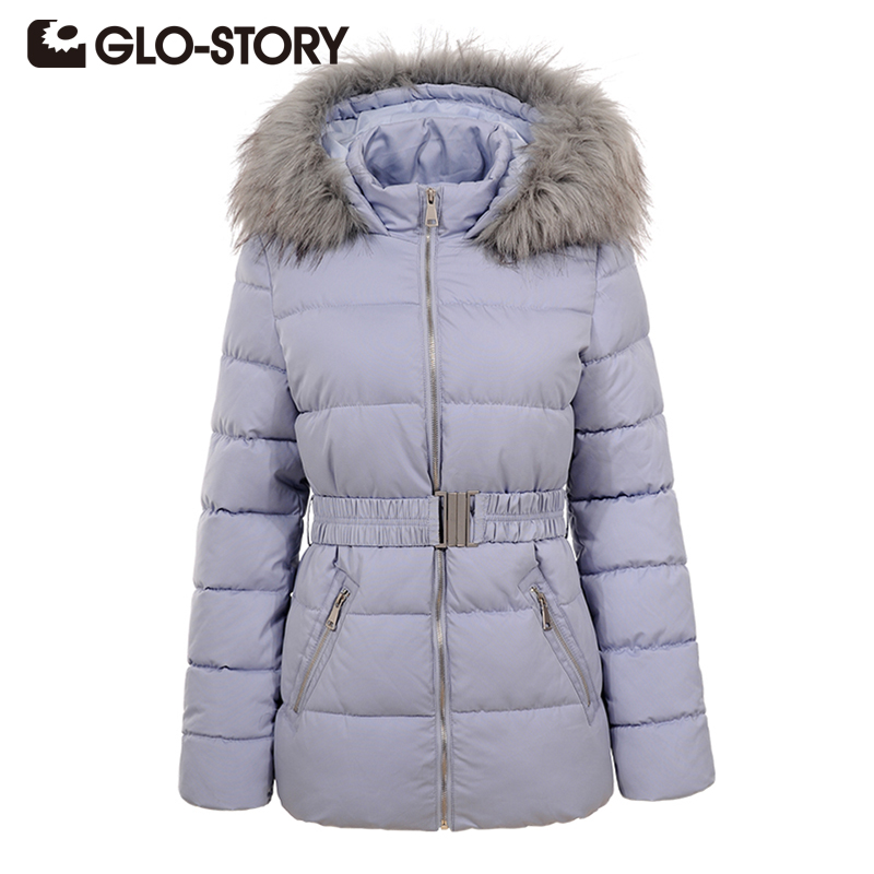 GLO-STORY Winter Jacket Women Fashion Thick Warm Parkas Coats Lady with Fur Collar Hooded Belt High Quality Down Jackets 4591