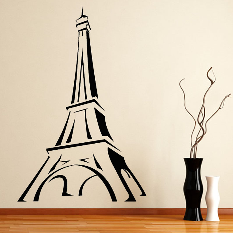 DCTOP Promotion Paris Wall Decal Cartoon Eiffel Tower Wall Decor Sticker  Living Room Hollow Out DIY