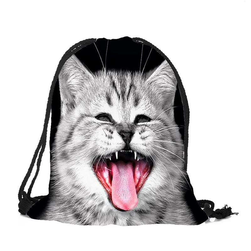 Купить с кэшбэком 20PCS / LOT Women Drawstring Bags 3D Cartoon Cat Printing Travel Backpack Portable Softback Pouch Travel Pouch Wholesale