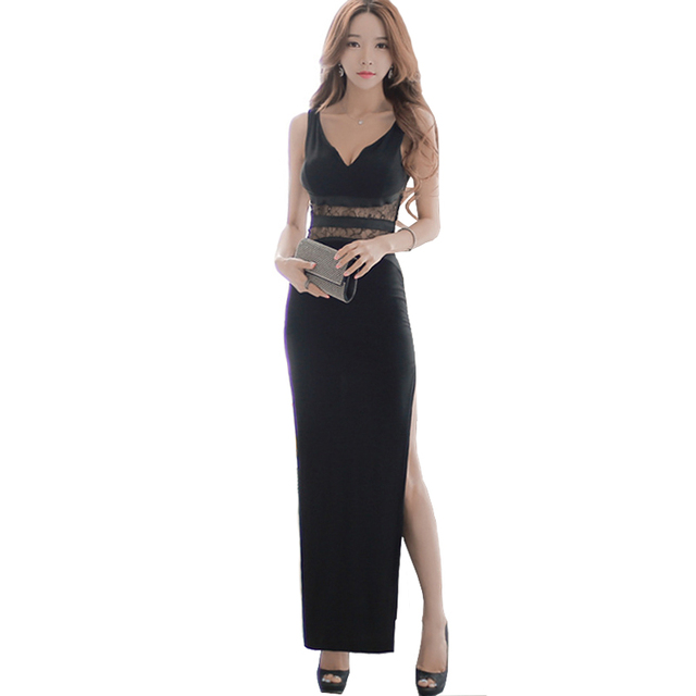 2017 New Arrive Luxury High Fashion Dresses Femme Sexy Black Plunge High Thigh Split Bodycon Long Dresses With Lace A Slit Robe