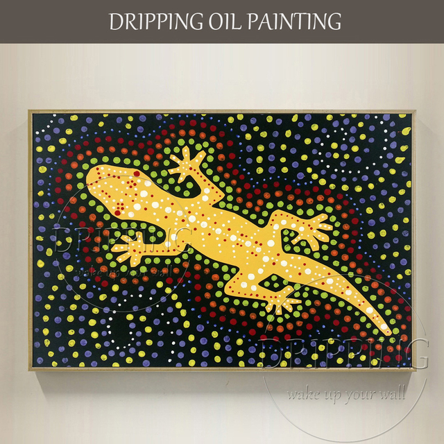 Gifted Painter Hand Painted Unique Design Abstract Animal Gecko Oil