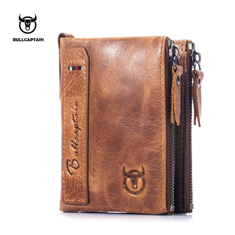 BULL CAPTAIN NEW DESIGN BIFOLD brand leather MEN wallets zipper SHORT money wallet rfid card holder small coin purse brown #QB06 wallet