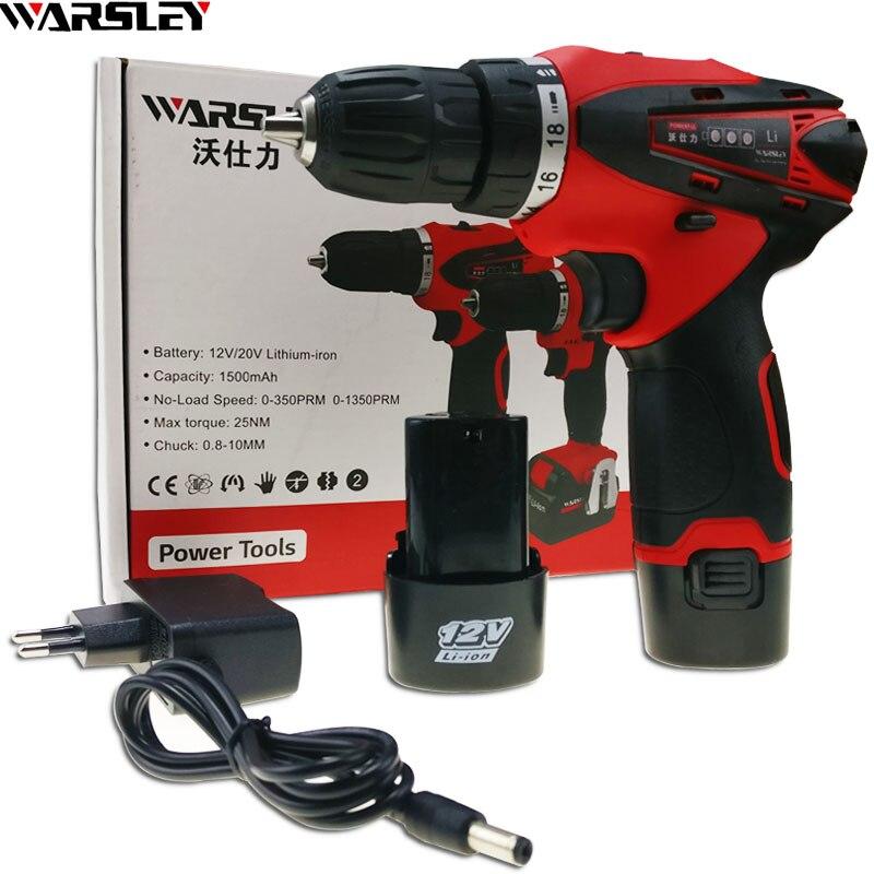 12 V outils électriques Perceuse électrique Électrique Perceuse sans fil électrique de forage perceuse à batterie 2 Batteries Tournevis Nouveau style