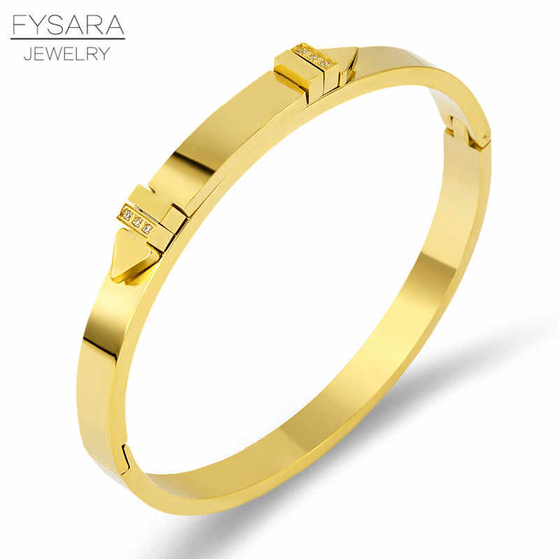 FYSARA Brand Luxury Gold Color Rivet Bracelets Stainless Steel Bangles Shiny Crystals Pulseiras Custom Wholesale Dropshipping