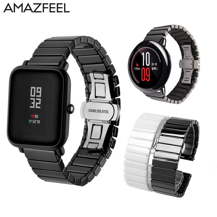Ceramic Watchband for Huami Amazfit Bip Strap Xiaomi Huami Amazfit Pace Stratos 2 Bracelet Ceramic Amazfit Straps Band 20mm 22mm
