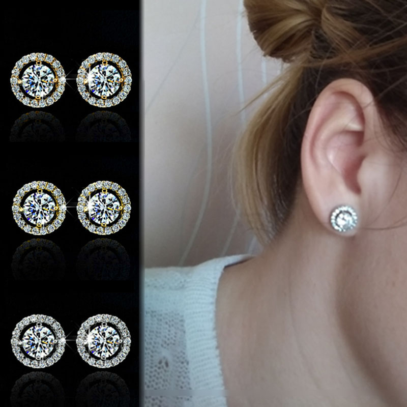 LNRRABC 1Pair New Zircon Allergy Free Round Crystal Earrings Girls Women 3Colors Stud Earrings Wedding Gifts Drop Shipping