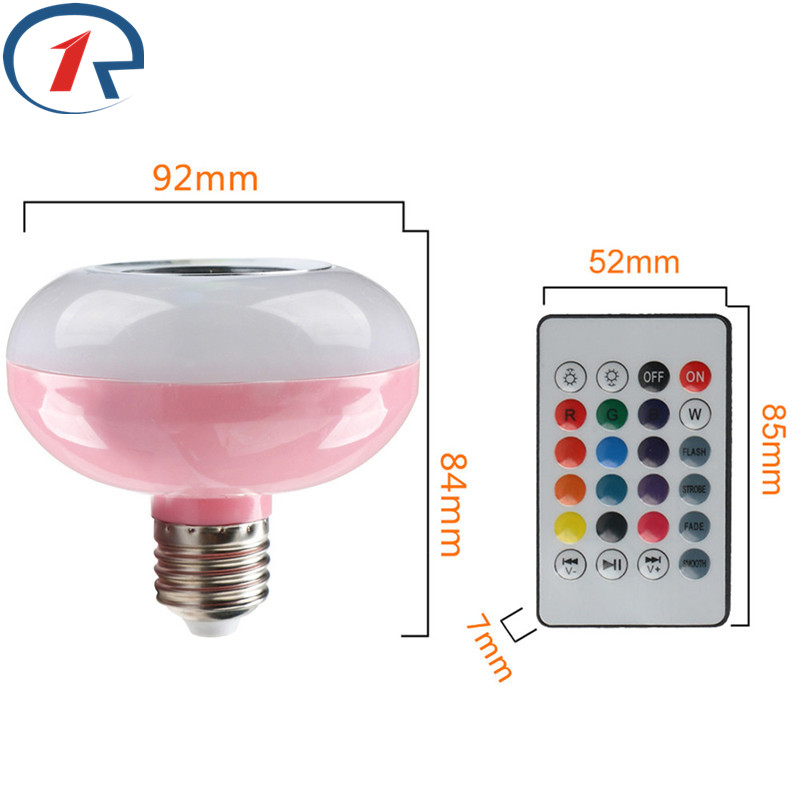 ZjRight E27 RGBW Smart LED light Bulb Wireless Bluetooth Music speaker remote control Multi Color Chang party gift table lamp szyoumy e27 rgbw led light bulb bluetooth speaker 4 0 smart lighting lamp for home decoration lampada led music playing