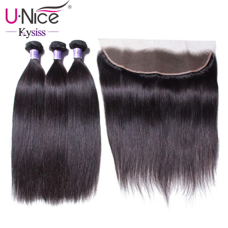 UNice Hair 8A Kysiss Virgin Series Brazilian Straight Hair Lace Frontal Closure With Bundles 4 PCS