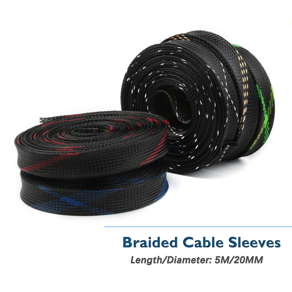 5 Colors 20mm 5M Snakeskin Mesh Wire Protecting Braided Cable Sleeves PET Nylon Cable Sleeve Wire Mesh Shock For Cable Sets кабельная муфта 2pcs 5m pc 4 50 cable sleeves