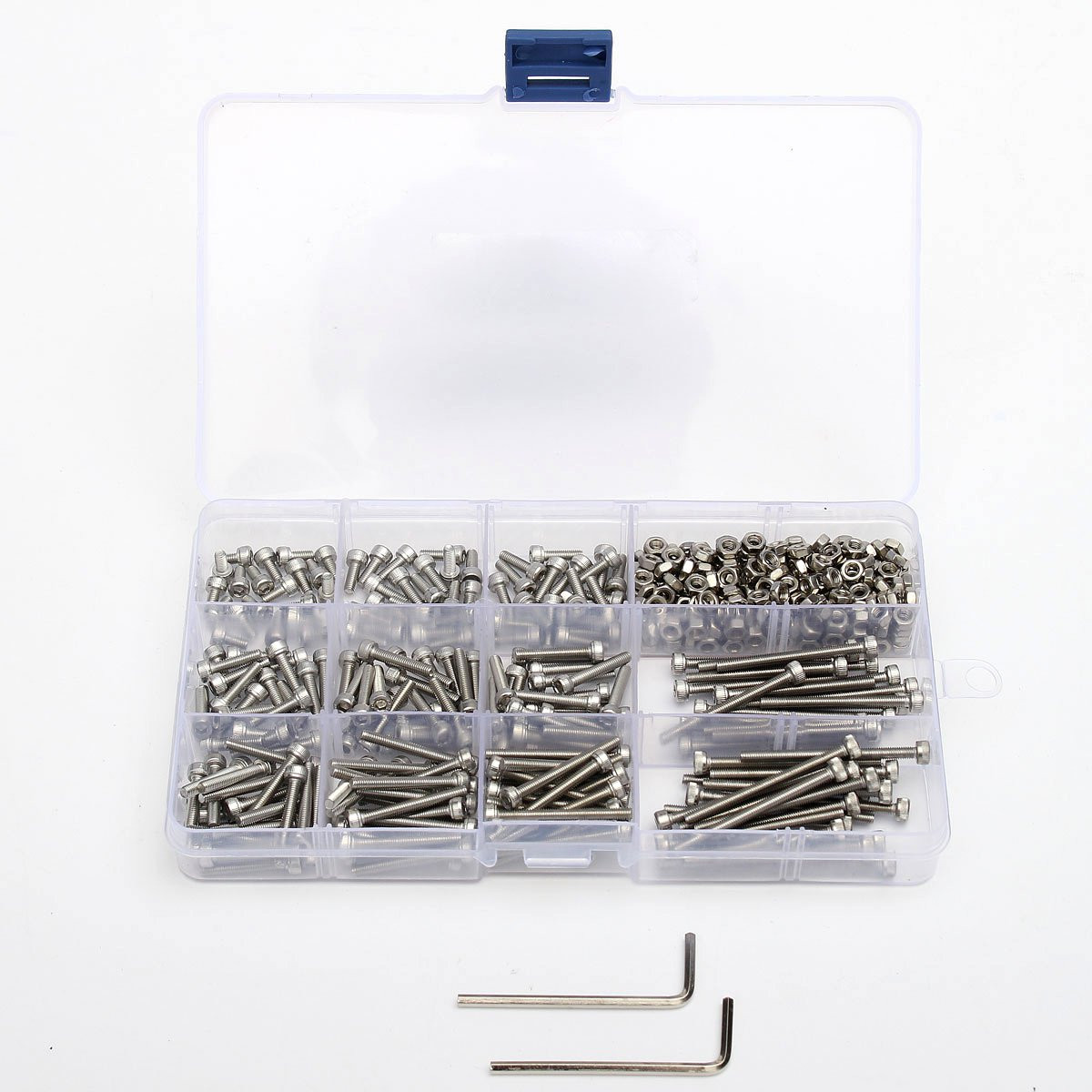 442pcs Silver <font><b>M3</b></font> Stainless Steel Hex Head Socket Cap Screws <font><b>M3</b></font> Nut Assortment Kit With 2 Hexagon Handle image