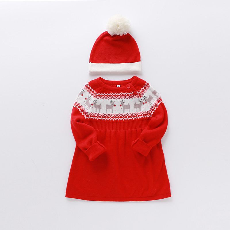 Girls Top Fashion New Knee-length Winter Dresses 2017 Christmas Dress And Hat Autumn Clothes Kids For Baby Girl Warm Halloween  fashion 2017 spring autumn new girls cotton knitting dress hat 2 piece thickening baby girl princess dress winter kids clothes