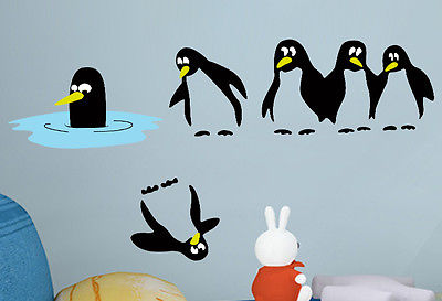 Penguins Animal Wall Sticker Art Mural Vinyl Decal Kids Room Bathroom Decor China Mainland