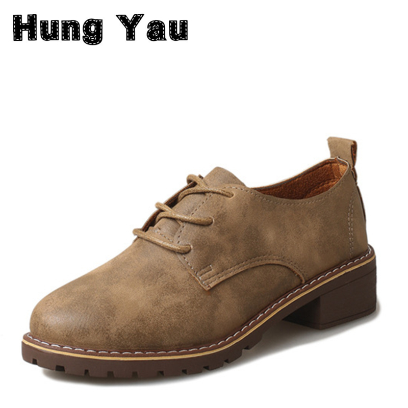 Hung Yau Leather Oxford Shoes Women Flats Fashion Women Shoes Casual Moccasins Loafers Ladies Shoes sapatilhas zapatos mujer