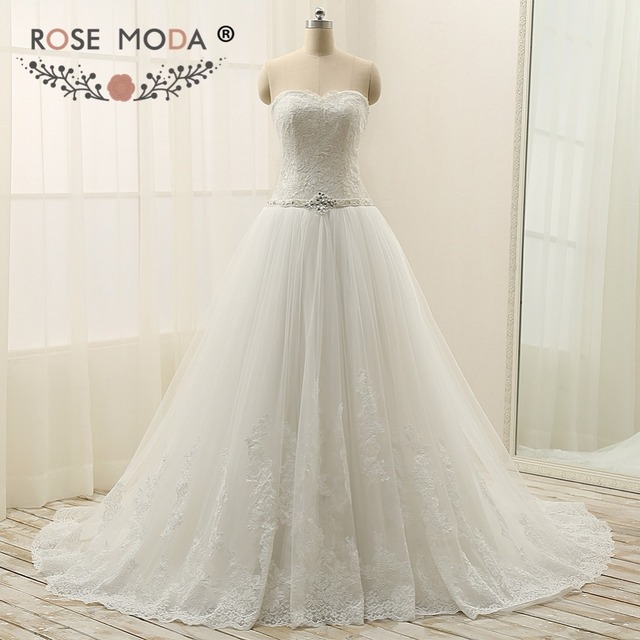 Rose Moda Princess Tulle Ball Gown Strapless Lace Plus Size Wedding Dress With Sash Up